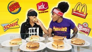 GUESSING FAST FOOD BURGERS (BLINDFOLDED)!!!