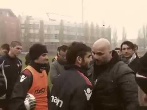 Ultras Capo of Piacenza (Italy) confronting with players after losing in Derby