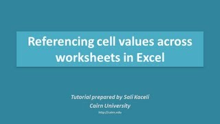 Referencing cell values across worksheets in Excel by using formulas