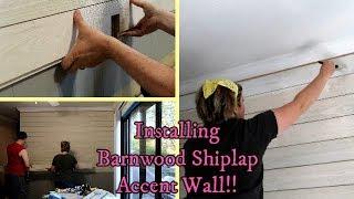 Installing Rough Pine Shiplap Accent Wall - White Washing