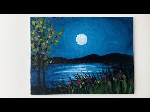 Moonlight Night Landscape Acrylic Painting For Beginners