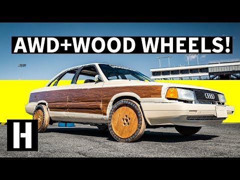 Hoonigan killed all tyres, now drifts on wood wheels