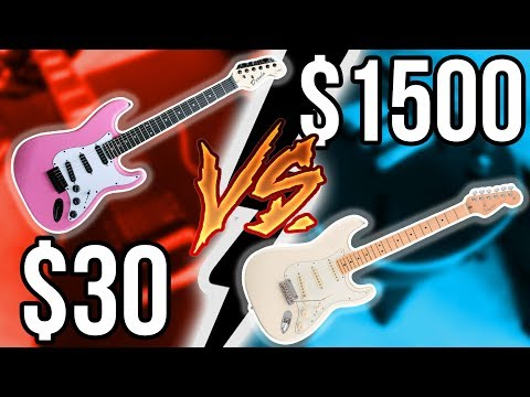 Cheapest Guitar Ever vs. Expensive American Fender!! || Guitar Shootout