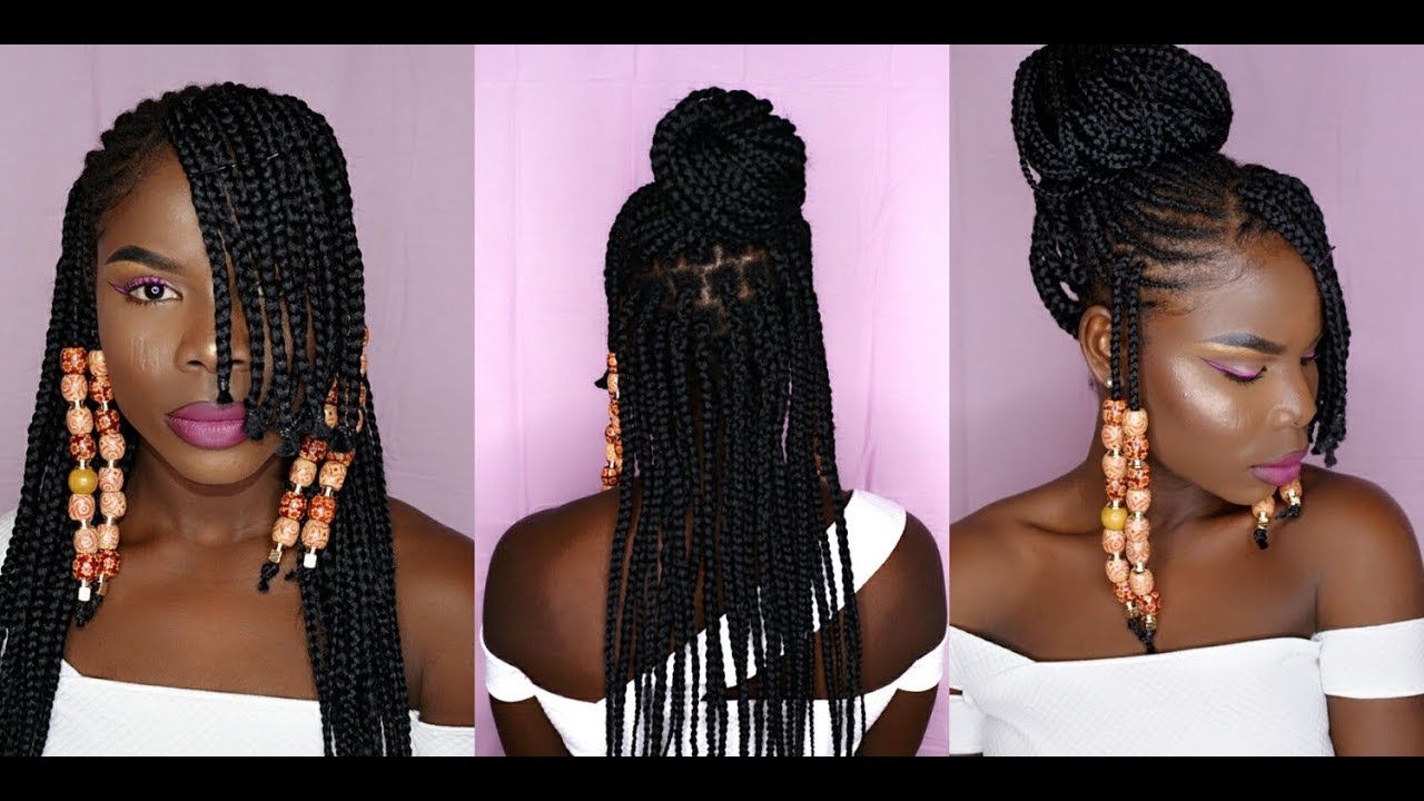 how to half up half down feed in braids box braids with cornrows