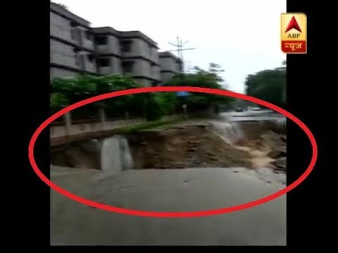 Road caves in Indirapuram after heavy rainfall in Delhi-NCR