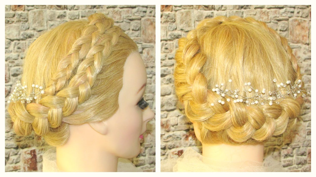 Crown Braid, Prom Hairstyle,Wedding Updo - YouTube
