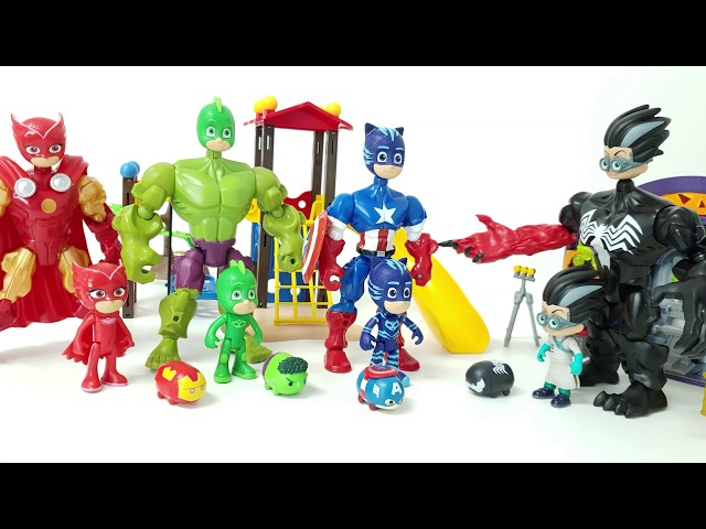 PJ Masks turns into the Avengers and freaks out the bad guys❤️ RACHAMAN TOY