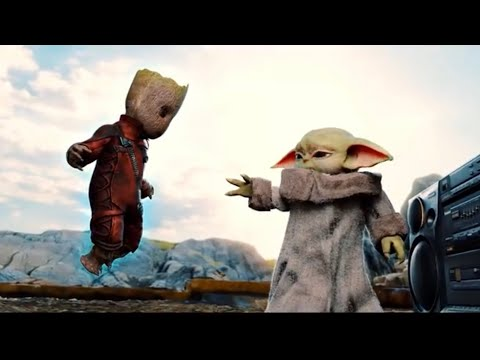 Baby Yoda meets Baby Groot