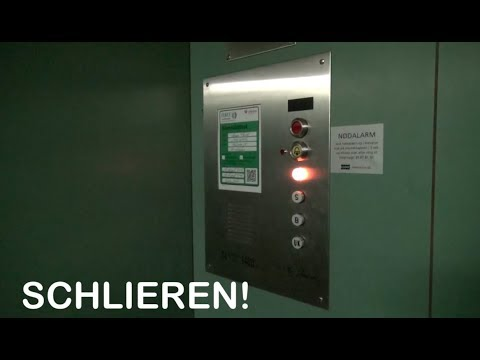 Vintage Schlieren elevator at a bank in Copenhagen Denmark with EPIC motor and relays