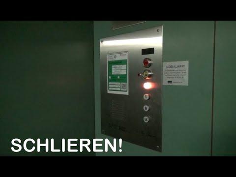Vintage Schlieren elevator at a bank in Copenhagen Denmark with EPIC motor and relays