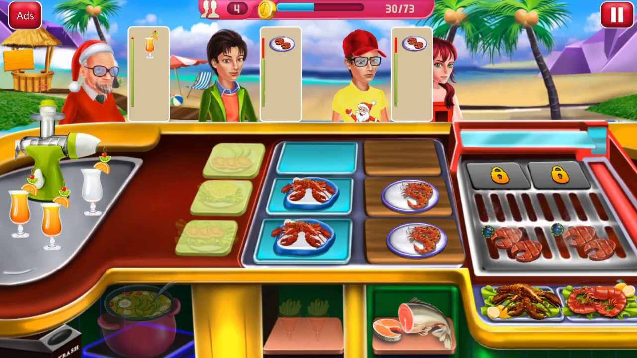 Crazy kitchen seafood restaurant chef cooking game android game play