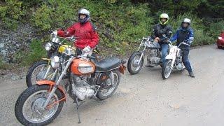 Ducati  singles ride Glacier Park September 3 2014. Scramblers, RT and Honda Dream