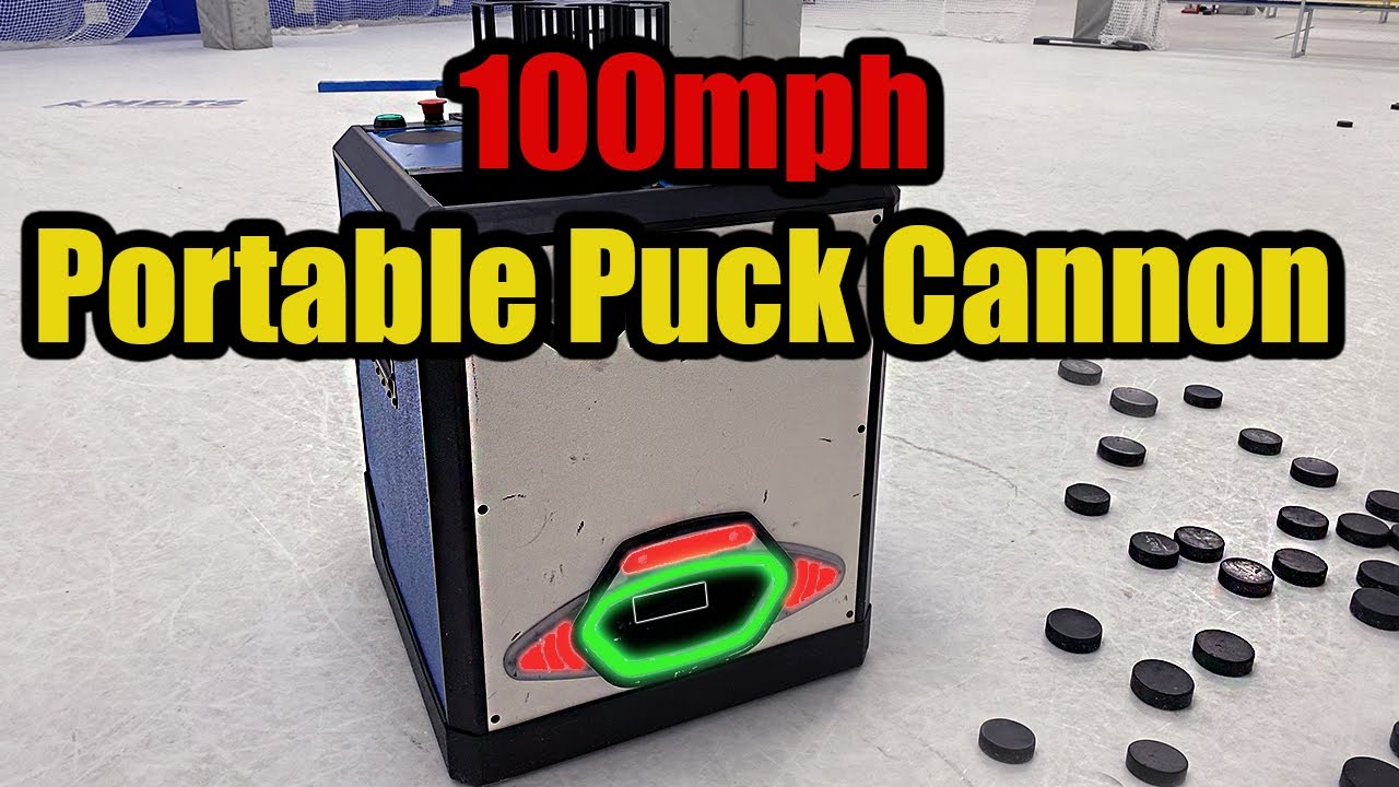 100mph Portable Puck Cannon for hockey players and goalies