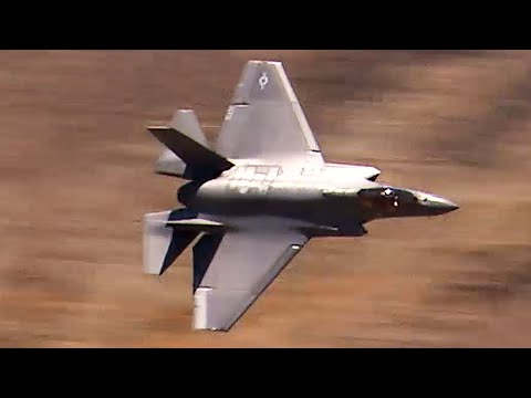 US Navy F-35C Stealth Fighters Low Level Through Star Wars Canyon