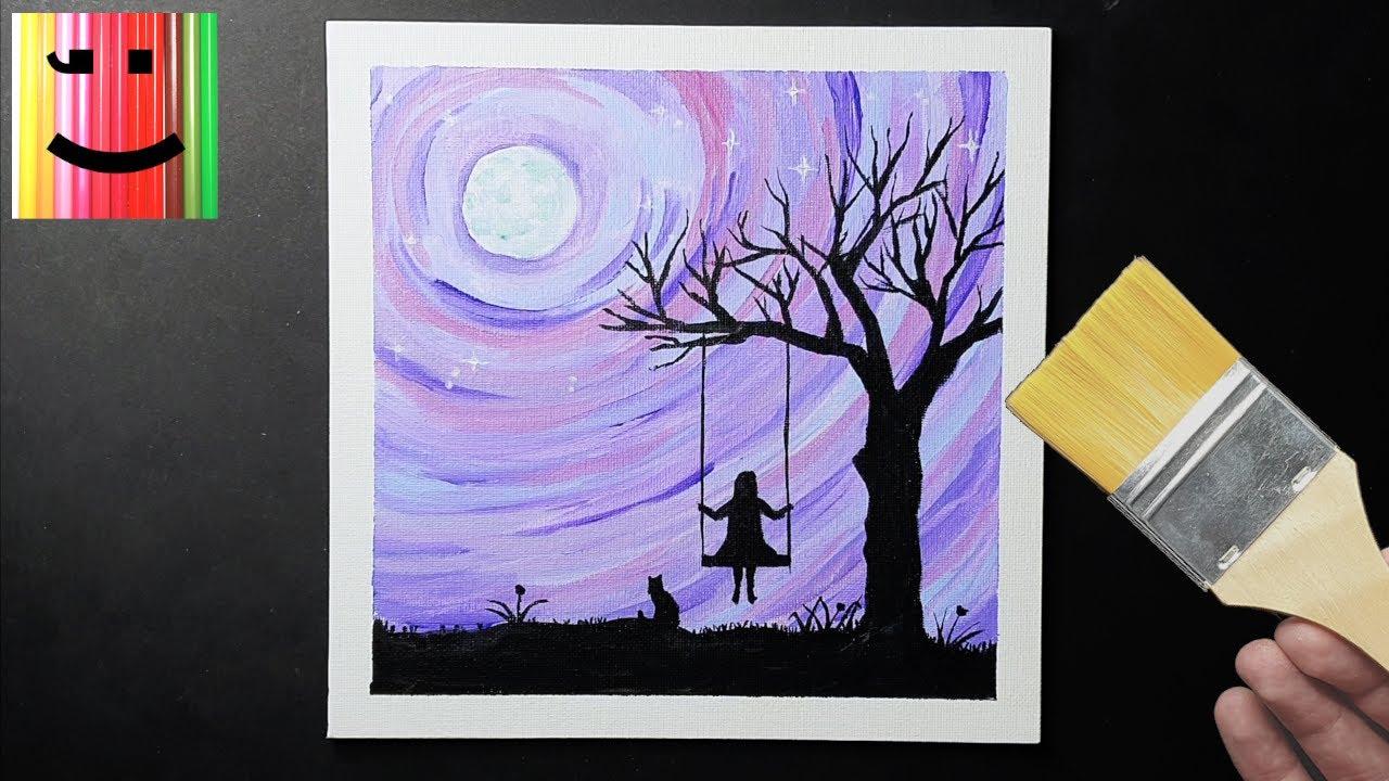 Paysage De Nuit Simple A Realiser Fillette Sur Une Balancoire Et Chat Peinture Acrylique Youtube