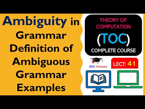 TOC Lecture 36: Definition of Ambiguous Grammar, Solved Examples in hindi