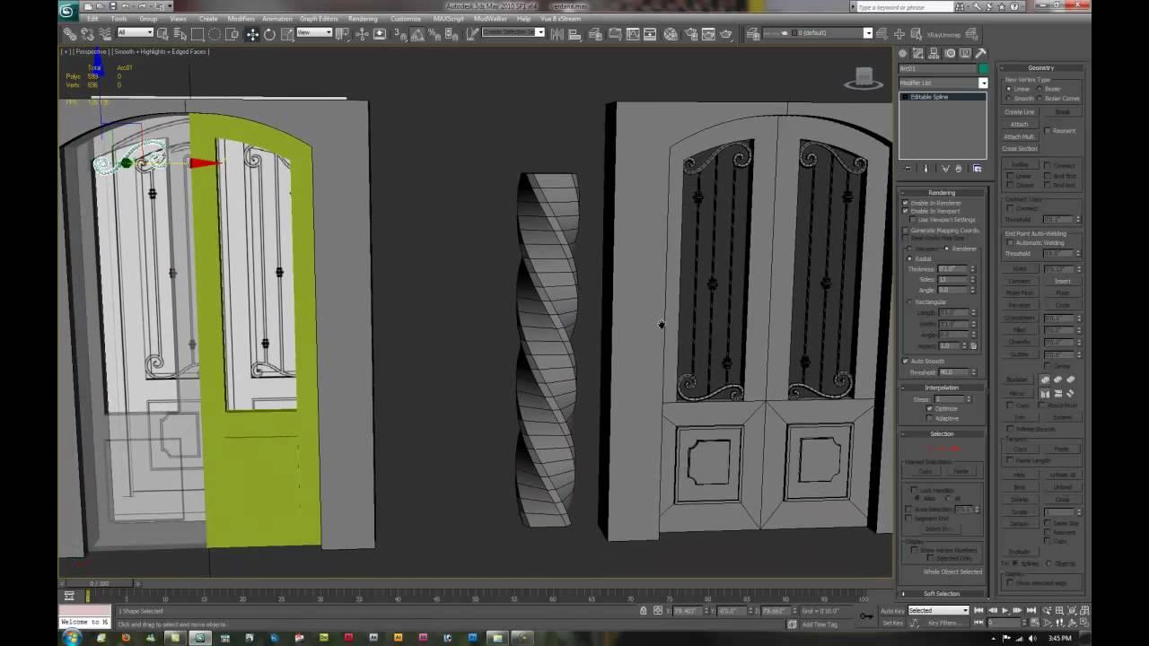 Como modelar una puerta en 3d max tutorial youtube for Sillas para 3d max