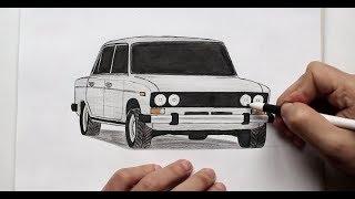 ❤️ Как нарисовать машину ВАЗ 2106 поэтапно❤️(Ehedov Elnur)VAZ 2106 nece cekilir