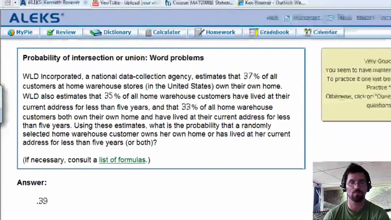 Probability of intersections or unions - word problems proj mp4