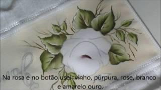 PINTANDO TOALHINHA DE MÃO ROSA 2