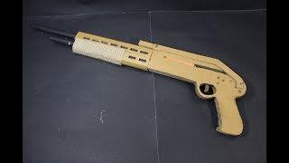 How to make a spas12 shotgun - that shoots - (cardboard gun)