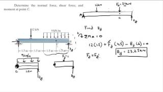 Determine the normal force, shęar force, and moment at point C.