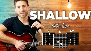Shallow Guitar Tutorial (Lady Gaga and Bradley Cooper) Easy Chords Guitar Lesson