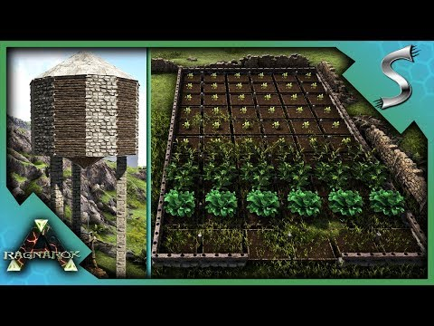 BUILDING THE WATER TOWER AND THE LARGEST CROP FIELD EVER! - Ark: RAGNAROK [DLC Gameplay S3E38]