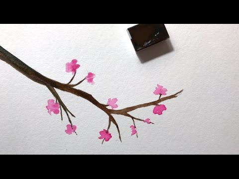 Simple Watercolor Cherry Blossom Painting Tutorial - YouTube