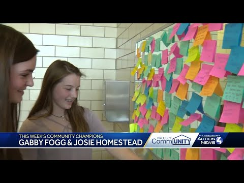 Community Champions: Girls fill bathroom with positive Post-it notes at Ingomar Middle School in ...