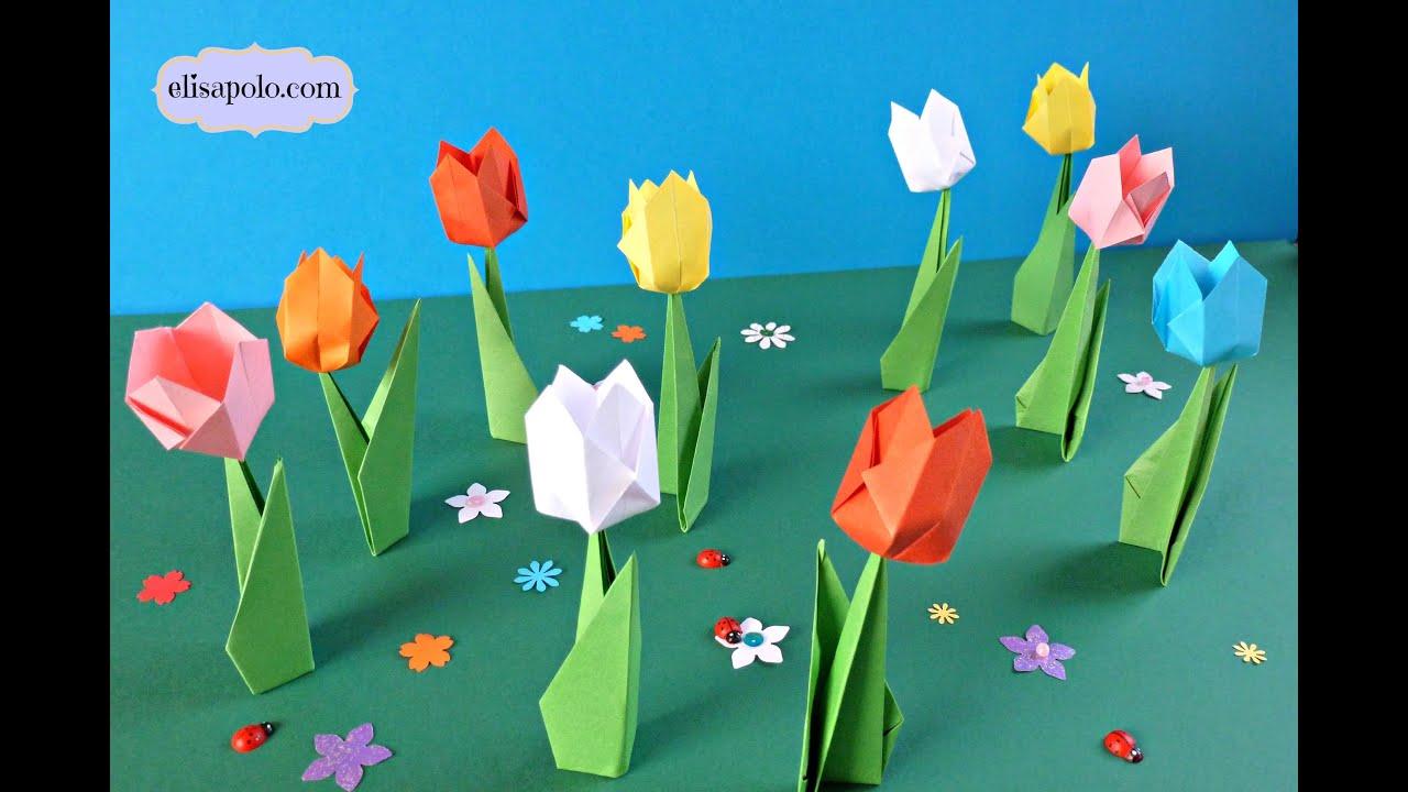 Diy c mo hacer tulipanes de papel peque os tulipanes de - Papel de vinilo para cocinas ...