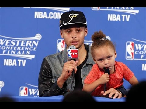 c0f611ae10d1 Stephen Curry s Daughter Takes Over Press Conference! - YouTube