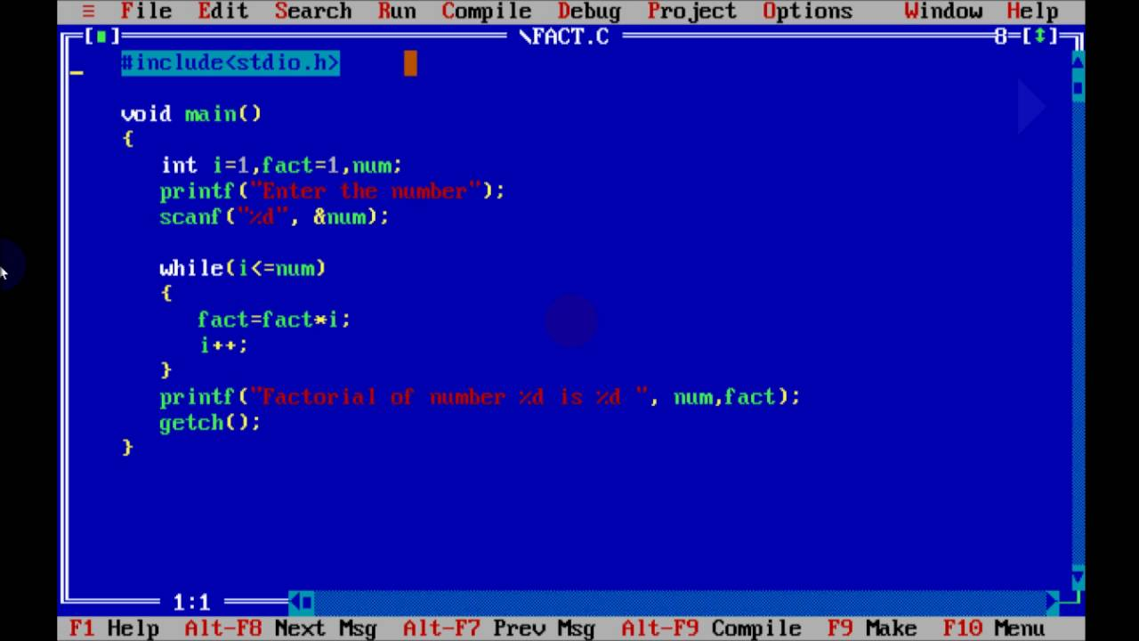 C Program To Find Factorial Of A Given Number