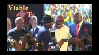 Drama At Jonathan's Book Launch As Oshiomhole, Akpabio,OBJ Make Surprise Appearances