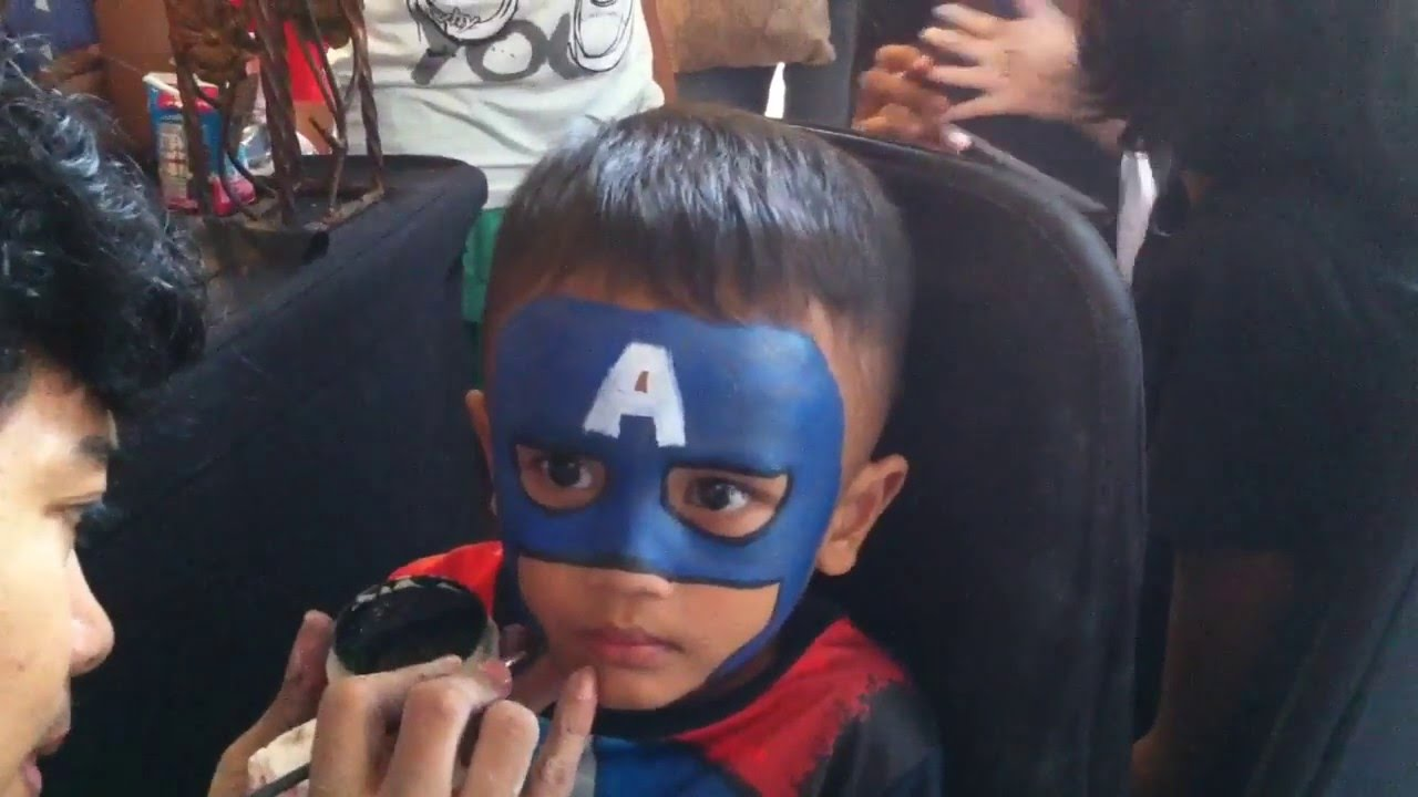 Captain america face painting youtube for America s finest paint