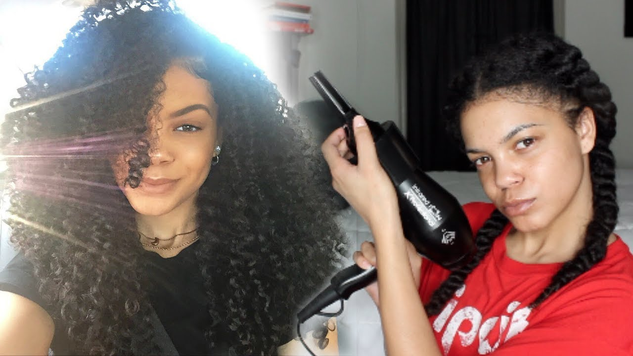 How to Blow Dry/Prep Curly Hair for Box Braids - YouTube
