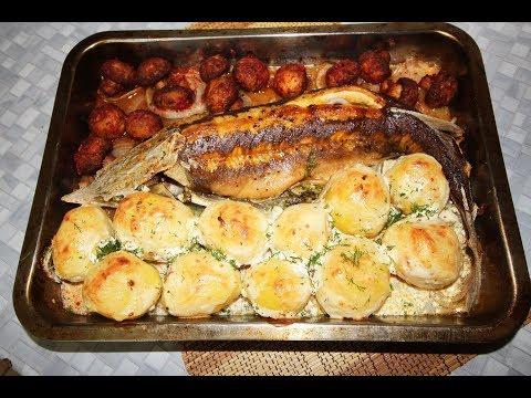 Стерлядь, запеченная в духовке (с картошкой и шампиньонами)