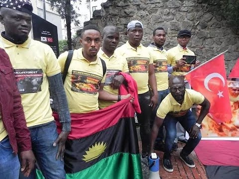 Ipob supporters protest in Turkey as Buhari finishes his visit for D-8 summit
