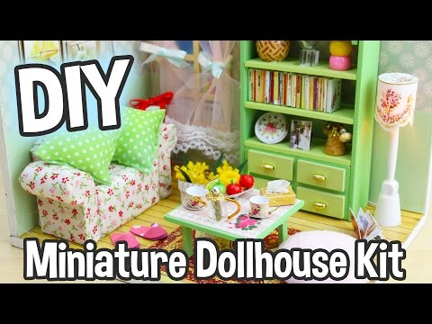 DIY Miniature Dollhouse Kit Cute Room with Working Lights!