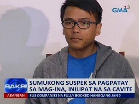 Sumukong suspek sa pagpatay sa mag-ina, inilipat na sa Cavite