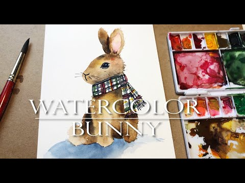 Watercolor Painting Ideas for Beginners/ Bunny Tutorial/ Step by Step