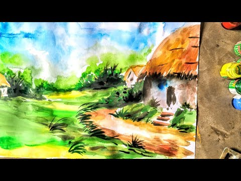 Easy natural scenery drawing | water colour drawing for kids | ever art tutorial
