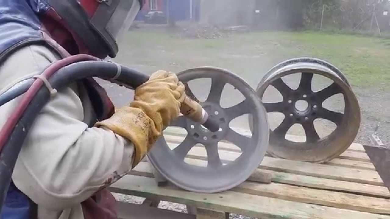 Re Chrome Rims >> Sandblasting wheels (aluminium rims) - YouTube