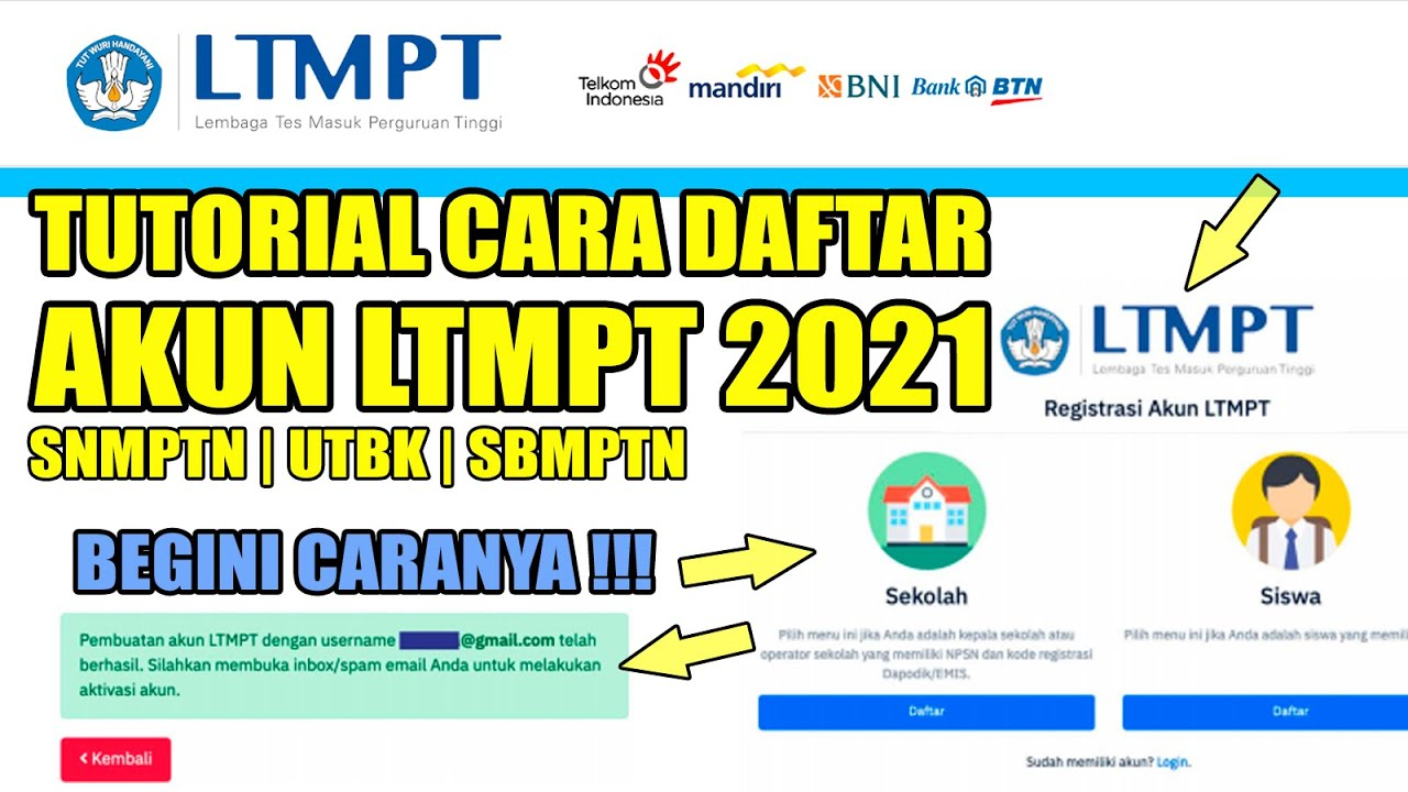 Tutorial Cara Registrasi Akun Ltmpt Tahun 2021 Untuk Syarat Pendaftaran Snmptn Utbk Sbmptn 2021 Youtube