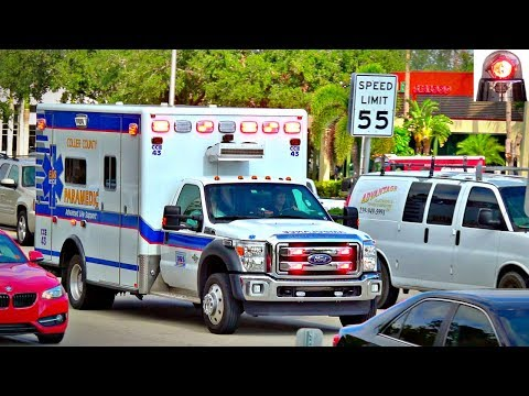 Collier County Emergency Ambulance Responding with Rumbler Siren
