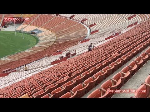 Drone view of LA Coliseum Fireworks Setup and Finale - 2016