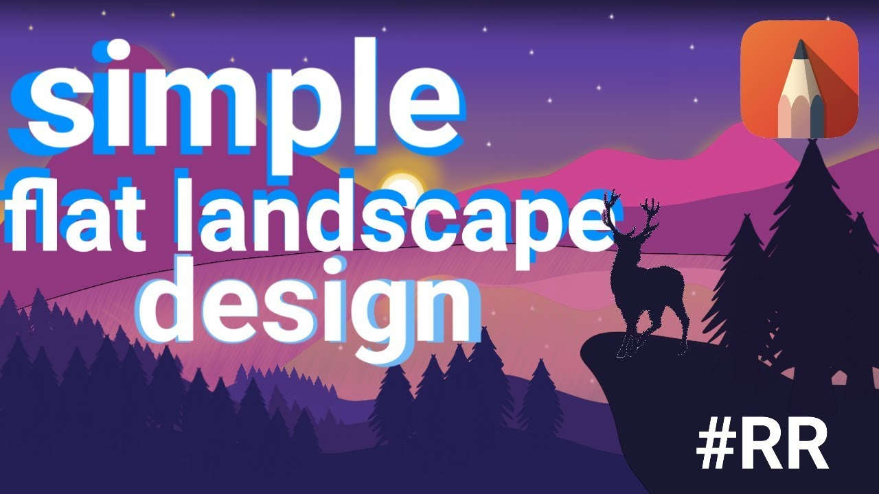 Simple Flat Landscape Design With Autodesk Sketchbook Android Tutorial Youtube