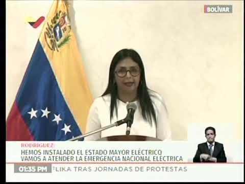 Delcy Rodríguez, rueda de prensa del Estado Mayor Eléctrico, 3 abril 2019