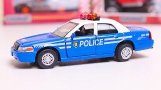 Машинки KINSMART Гоночные машины Распаковка машинок. Полицейская машина.