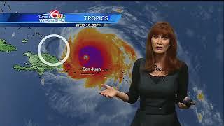 Wednesday Night: Irma North of Puerto Rico